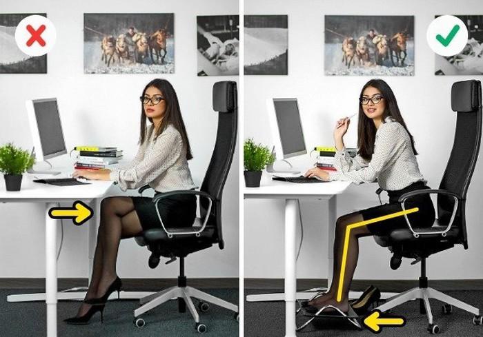Tư thế chân chuẩn khi ngồi làm việc